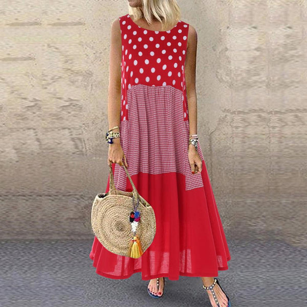 Casual Patchwork Polka Dot Plaid Print Maxi Dress