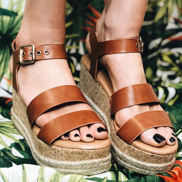 Espadrille Adjustable Buckle Wedges Sandals