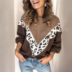 Women's Fashion Casual Color Matching Leopard Sweater
