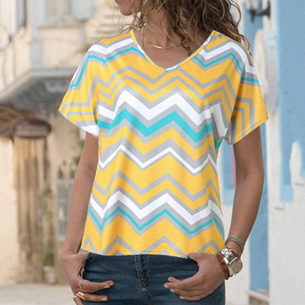 Plus Size V Neck Corrugated Blouse