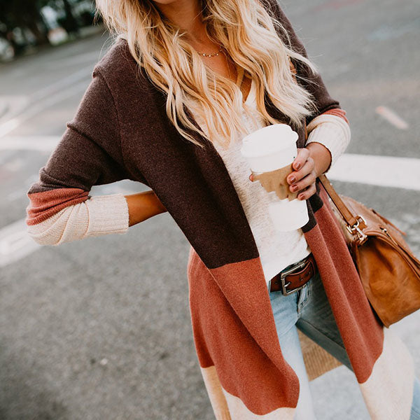 Casual Patchwork Plain Fall Coats