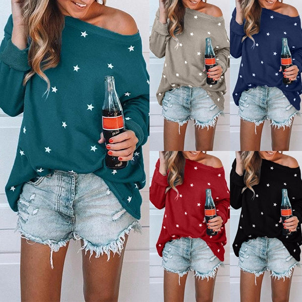 Plus Size Star Printed Long Sleeve Blouse