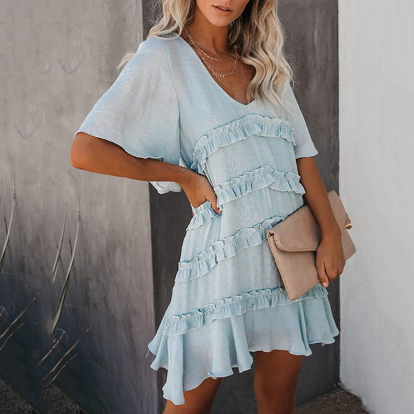 Half Sleeve Patchwork Mini Dresses