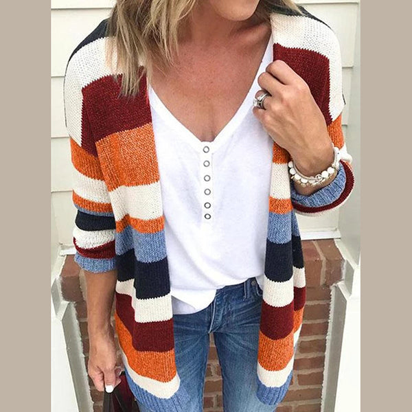 Striped  Long Sleeve Fall Casual Coats