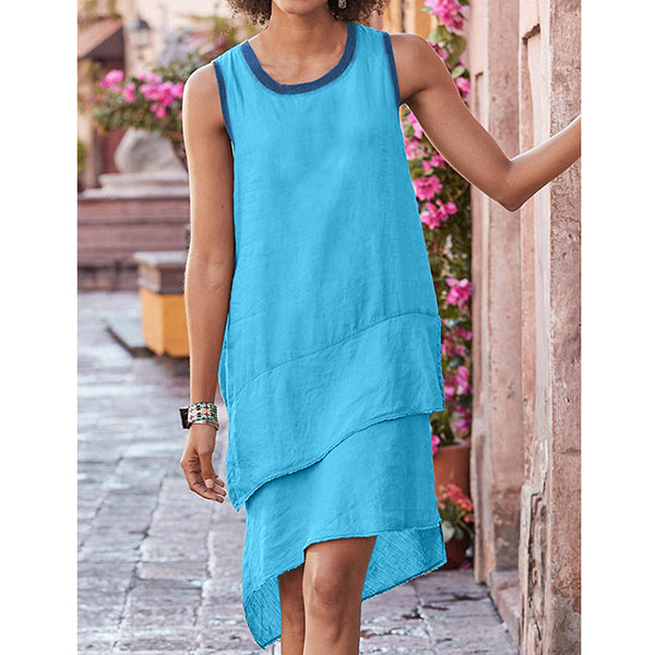 Women Round Neck Patchwork Multilayer Dresses
