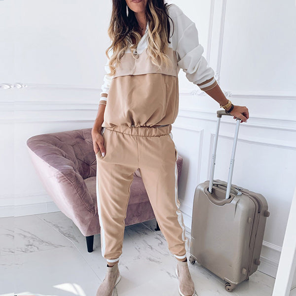 Women Patchwork Long Sleeve Jumpsuits