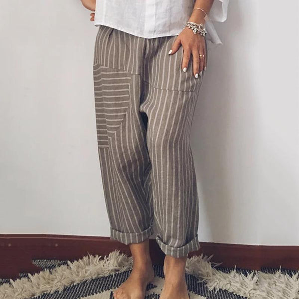 Casual Striped Paneled Pants