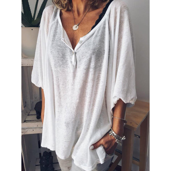 Plus Size Summer Neckline Button Short Sleeve Casual Shirt