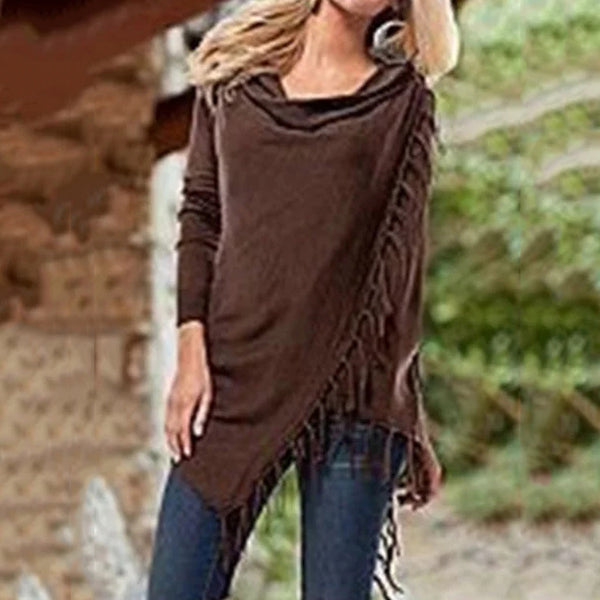 Casual Asymmetrical Fringed Ruched Blouses