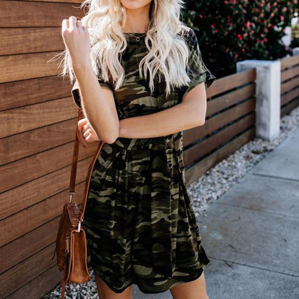 Camouflage Casual Daily Lace-Up Dress