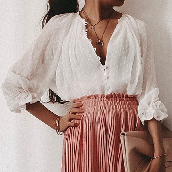 Women 1/2 Sleeve Casual Loose Vacation Blouses
