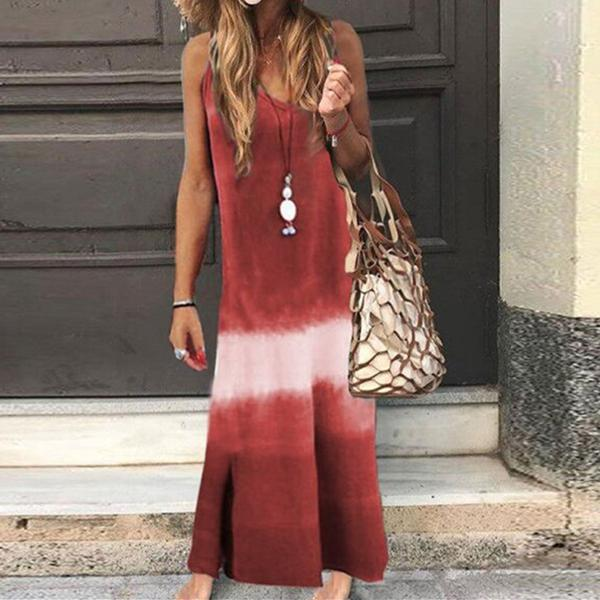 Women Fashion Summer Sleeveless V-Neck Color Block Maxi Dresses