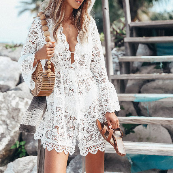 Lace Long Sleeve V-neck Dress