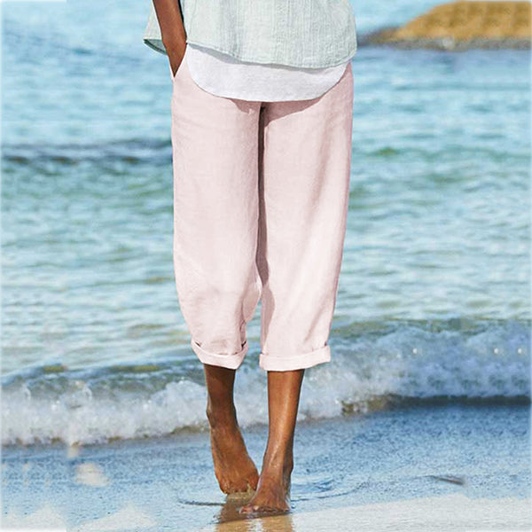 Women Linen Paneled Casual Pants