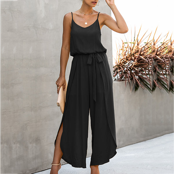 Fashion V Neck Sleeveless Solid Women Jumpsuits