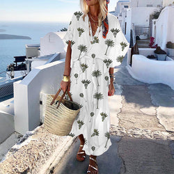 Printed V Neck Maxi Dress