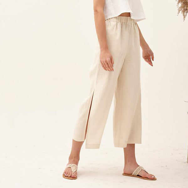 Solid Color Side Split Loose Pants