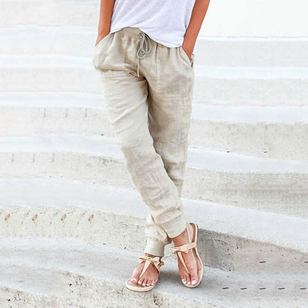 Elastic Waist Lace-Up Pants