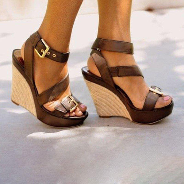 Vintage Fashion Wedge Adjustable Buckle Sandals