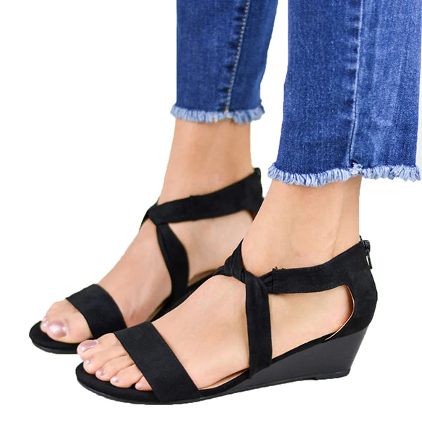 Cross Band Low Heel Sandals