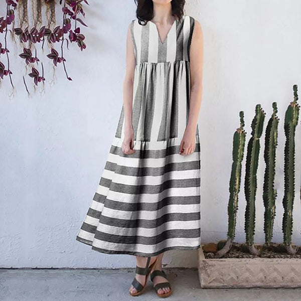 Elegant Stripe V Neck Dress