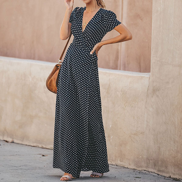 Elegant V Neck Polka Dot Maxi Dress