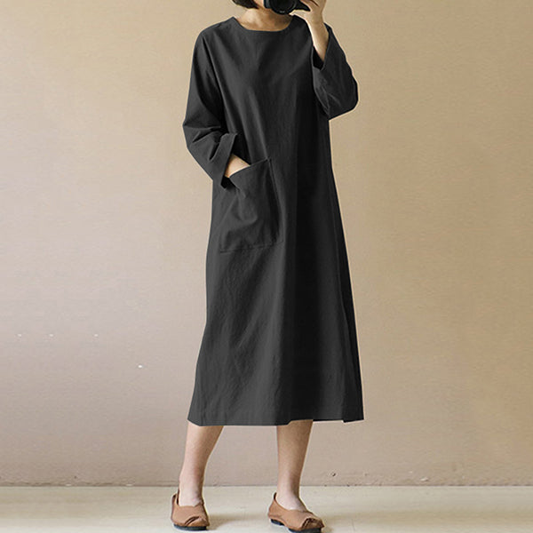 Casual Solid Color Pocket Maxi Dress