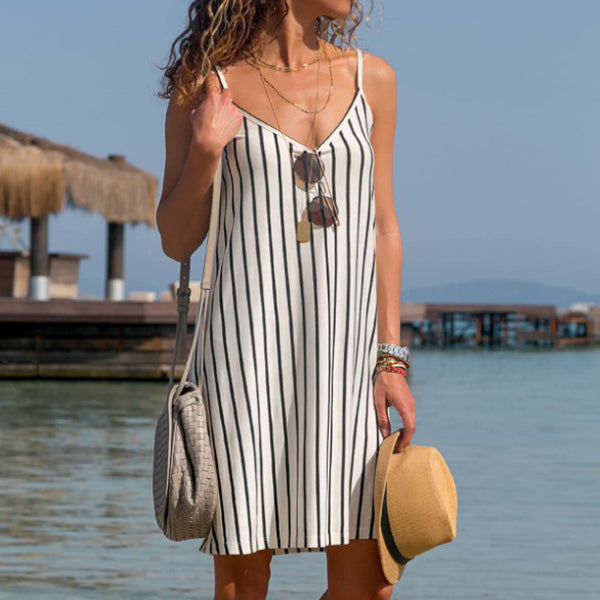 Casual Stripe V Neck Sleeveless Dress