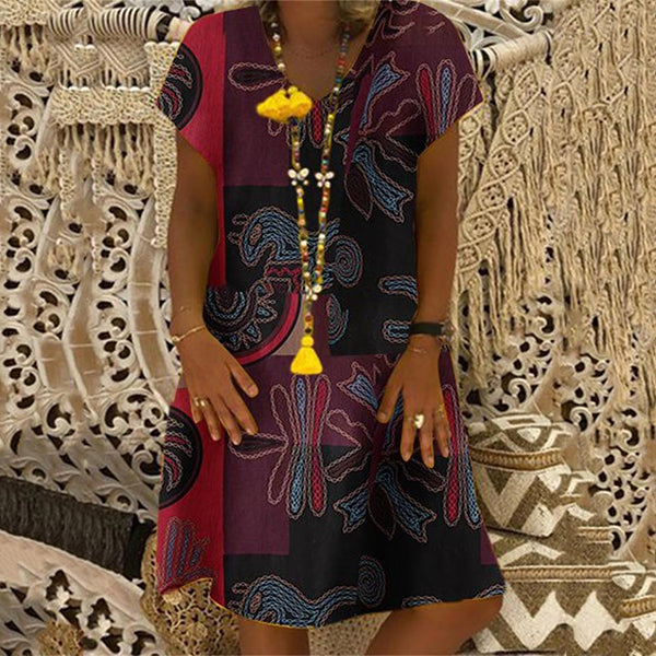 Loose Casual V Neck Printed Dress