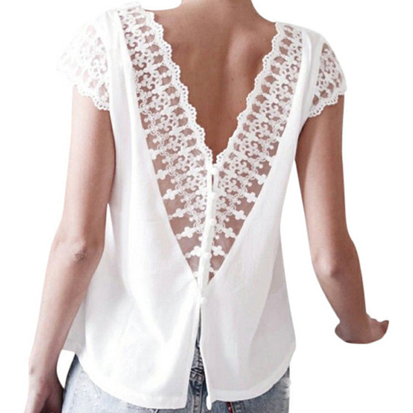 Lace V Neck Backless Blouse