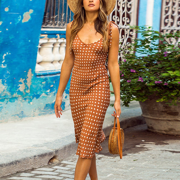 Polka Dot Lace-Up V Neck Dress