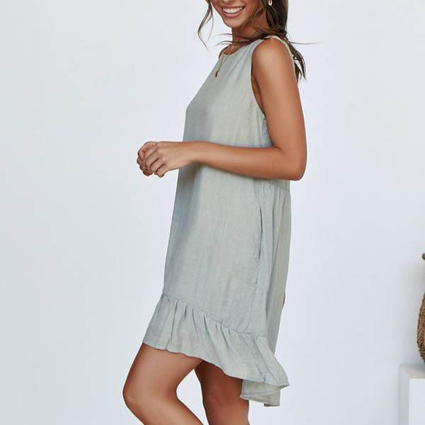 Ruffle Hem Solid Color Dress