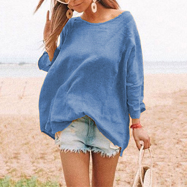 Simple Solid Color Loose Blouse