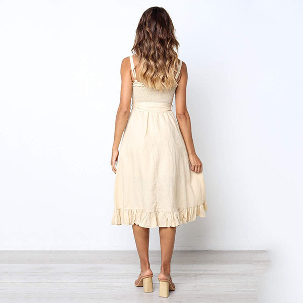 Sweet Bow Solid Color Sleeveless Dress