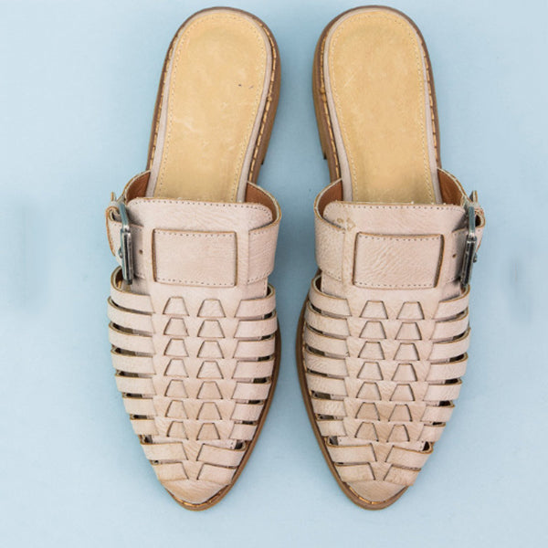 Woven Point Toe Low Heel Slippers