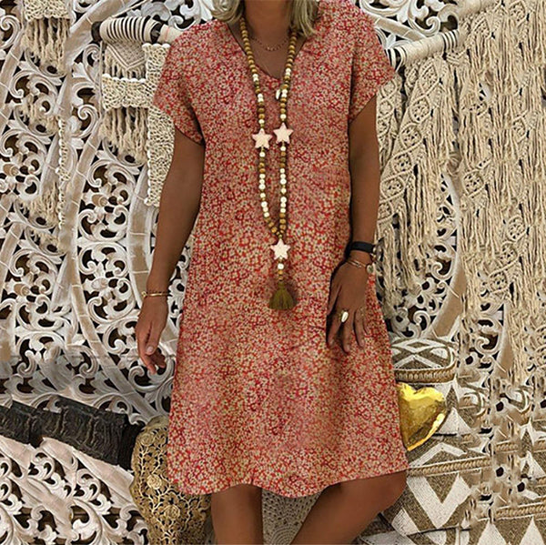 V Neck Loose Printed Dress