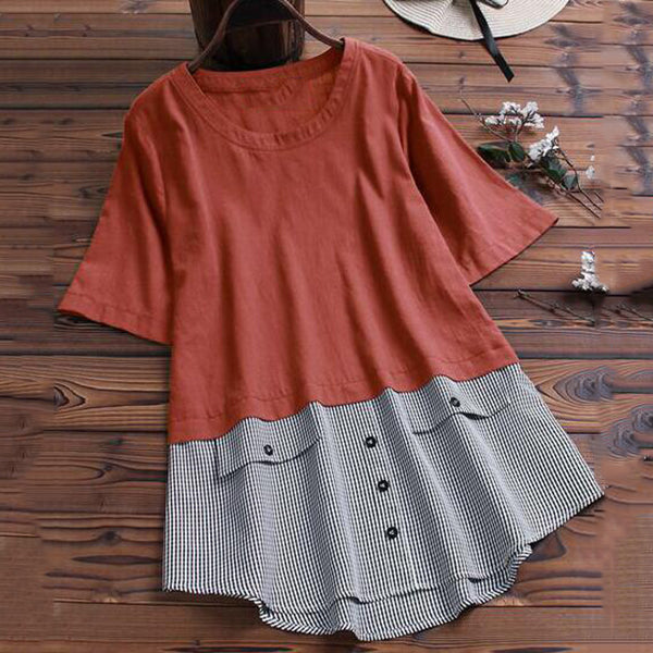 Plus Size Loose Stitching Color Blouse