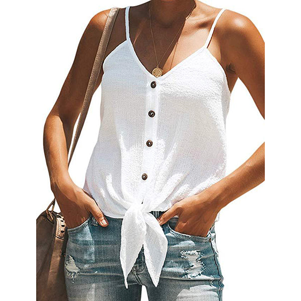 Casual V Neck Button Lace-Up Vests