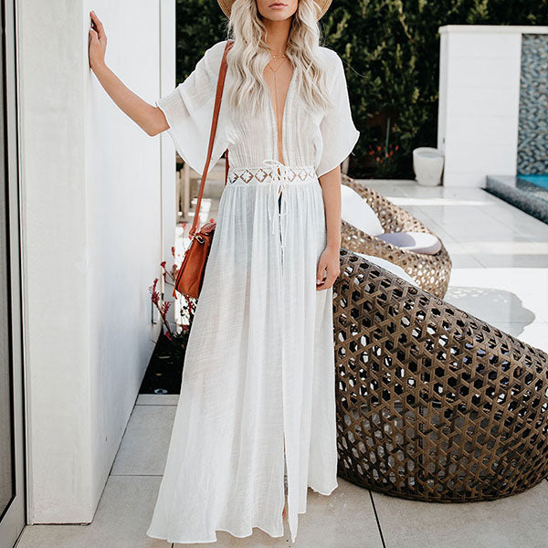 Sexy Deep V Neck Vacation Maxi Dress