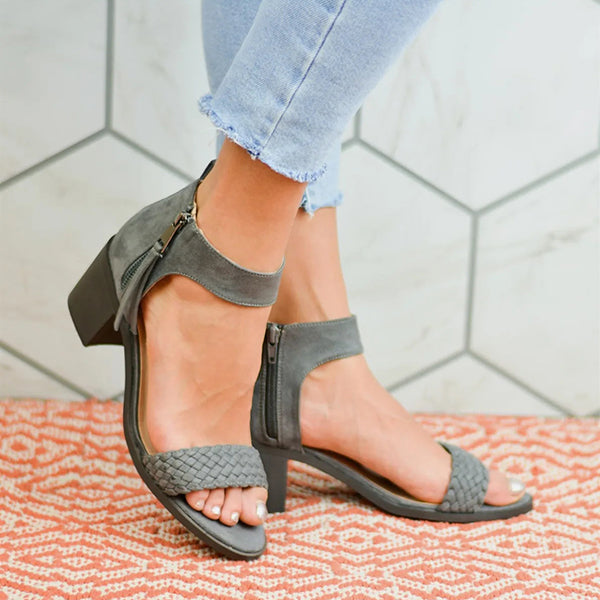 Casual Middle Heel Zipper Sandals