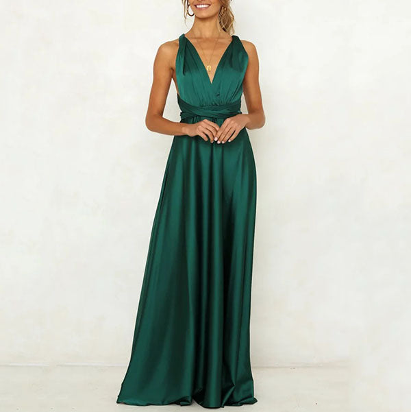 Elegant V Neck Evening Maxi Dress