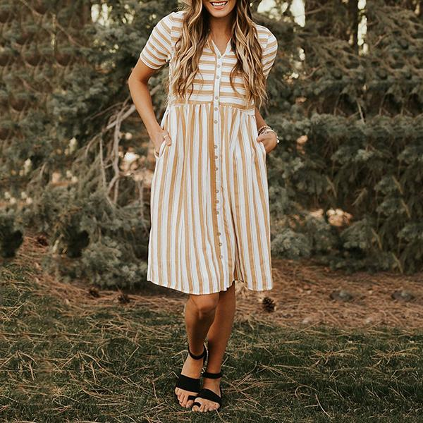 Casual Sweet V Neck Stripe Dresses