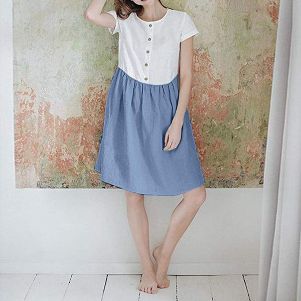 Sweet Stitching Color Button Dress