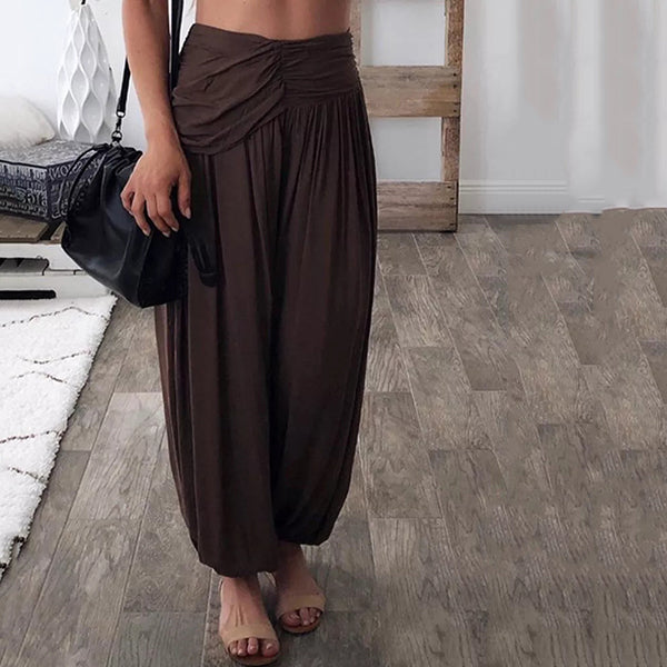 Loose Elastic Waist Solid Color Pant