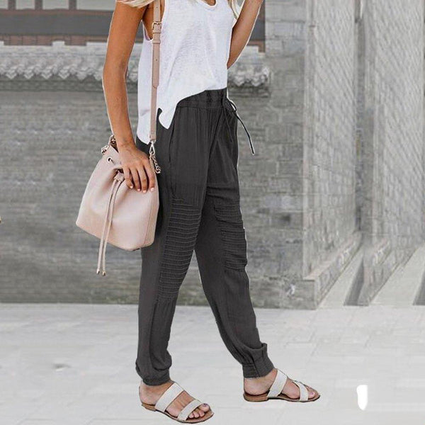 Casual Loose Solid Drawstring Beach Pants