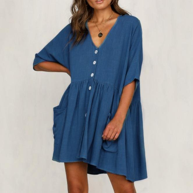 Casual V-Neck Pocket Button Short Dresses