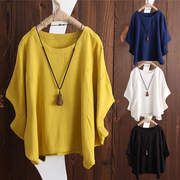 Irregular Fashion Solid Short Sleeved Vintage Blouse
