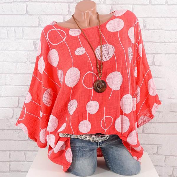 Plus Size Casual Loose Dot Blouse