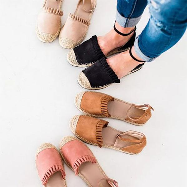 Casual Ruffle Side Flat Sandals