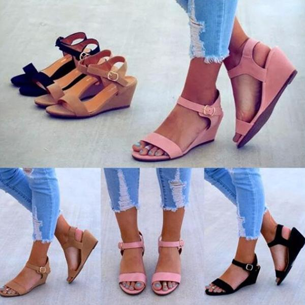 Fashion Wedge Adjustable Buckle Sandals